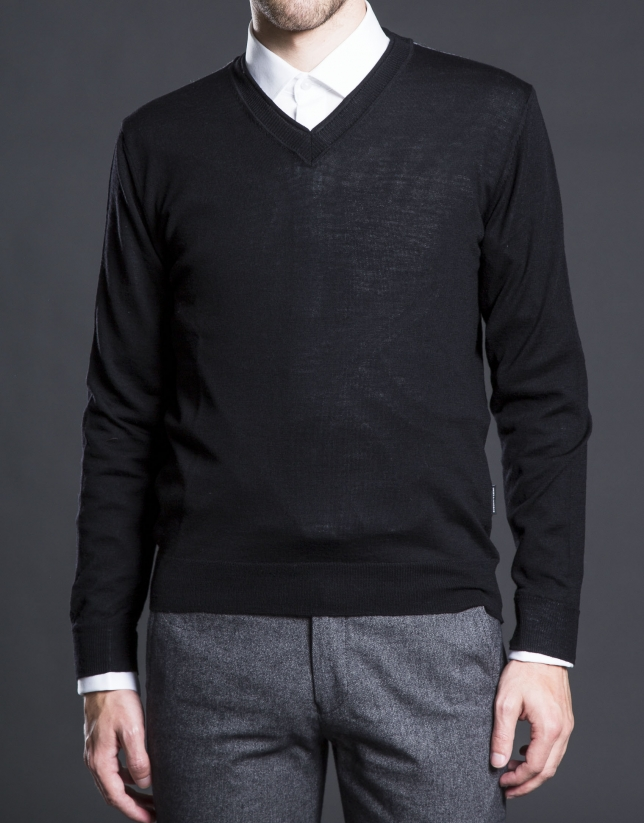 Basic black knit sweater