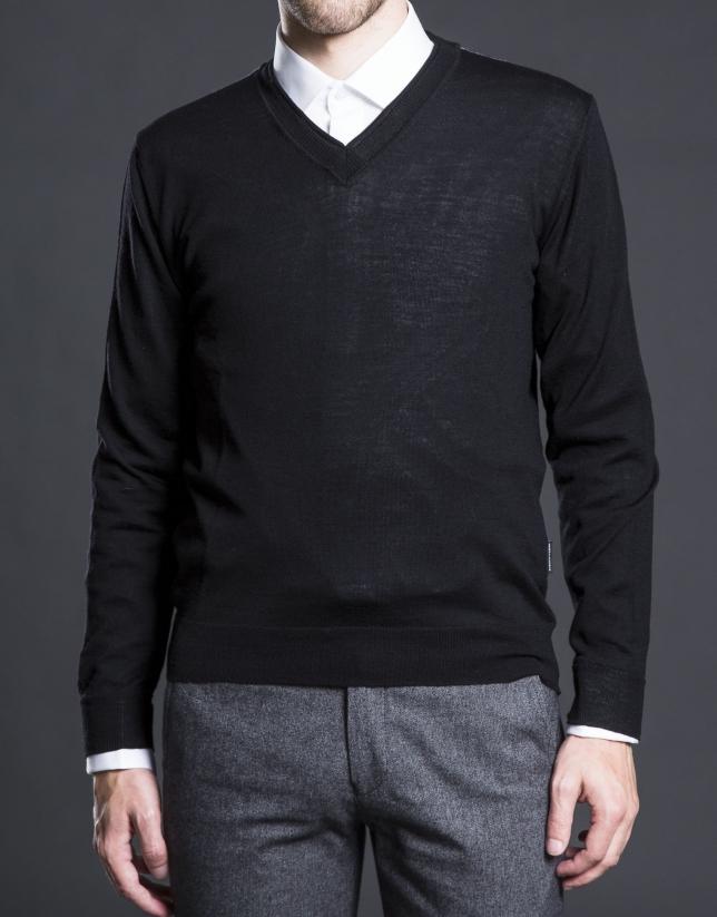 Jersey punto básico negro