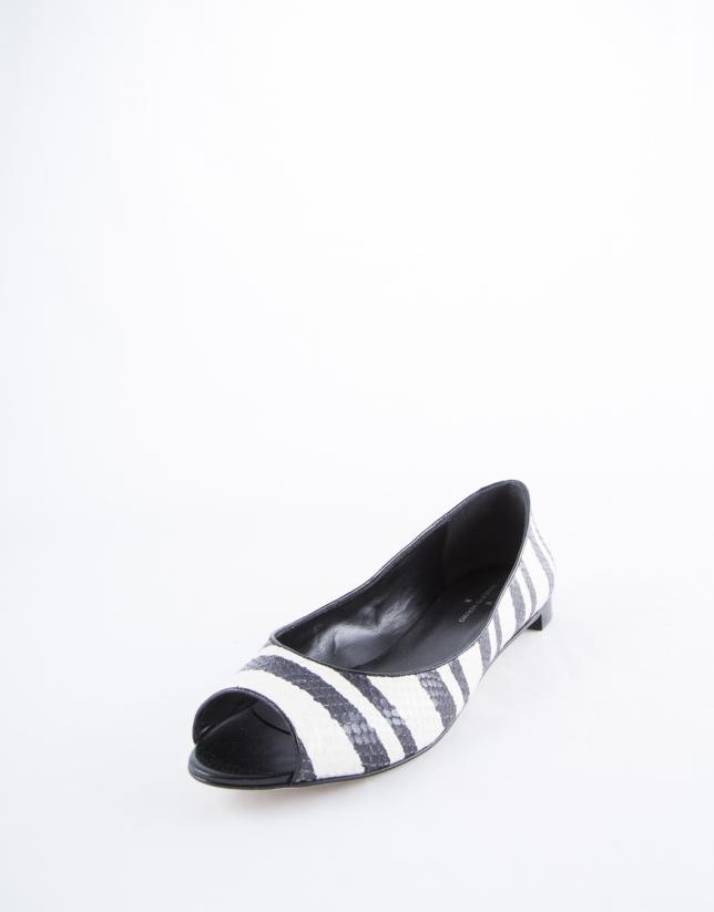 Paris Bahía : balerine en cuir noir et blanc à rayures