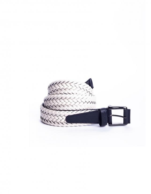 Cinturón trenzado blanco roto