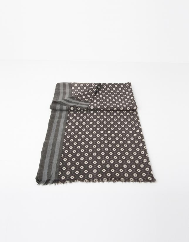Bufanda estampada mostaza