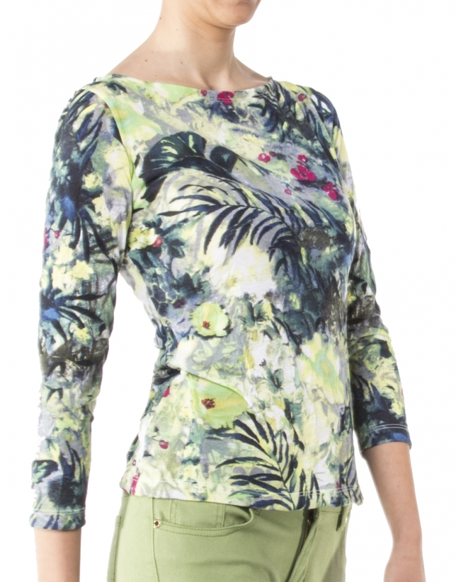 Blue floral print, long-sleeved t-shirt