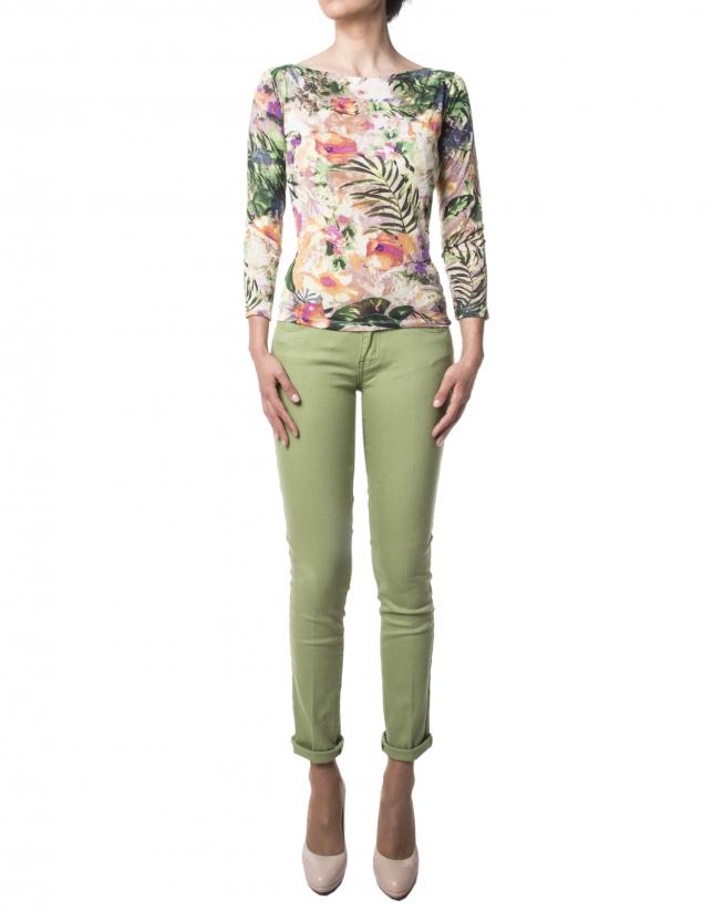 Camiseta floral manga larga verde
