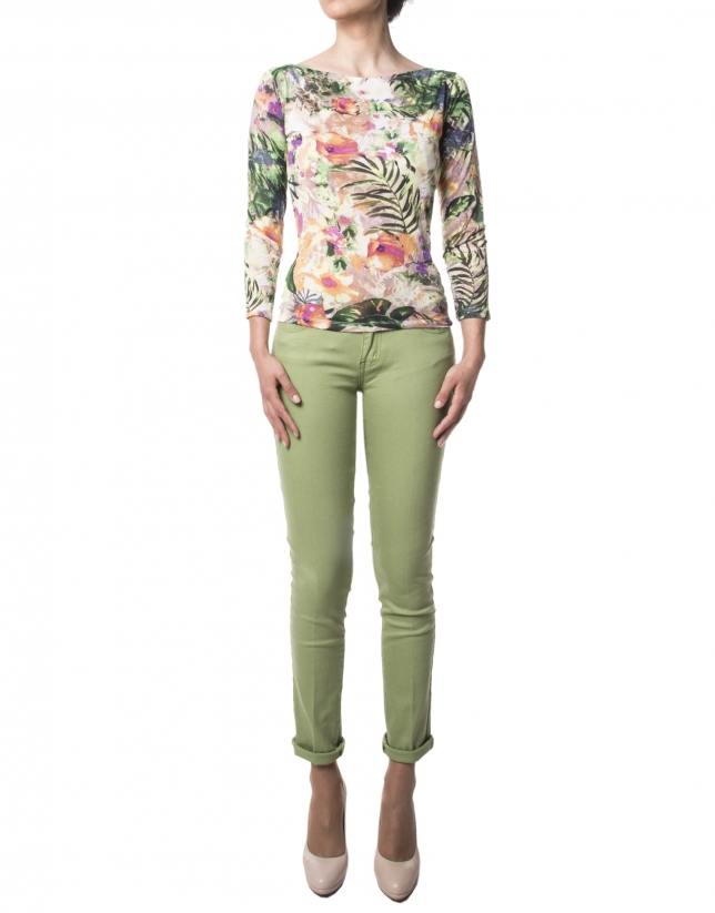Green floral print, long-sleeved t-shirt