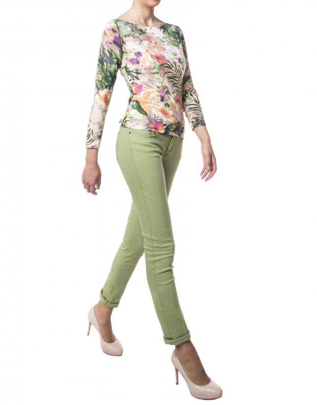 T-shirt vert clair à fleurs
