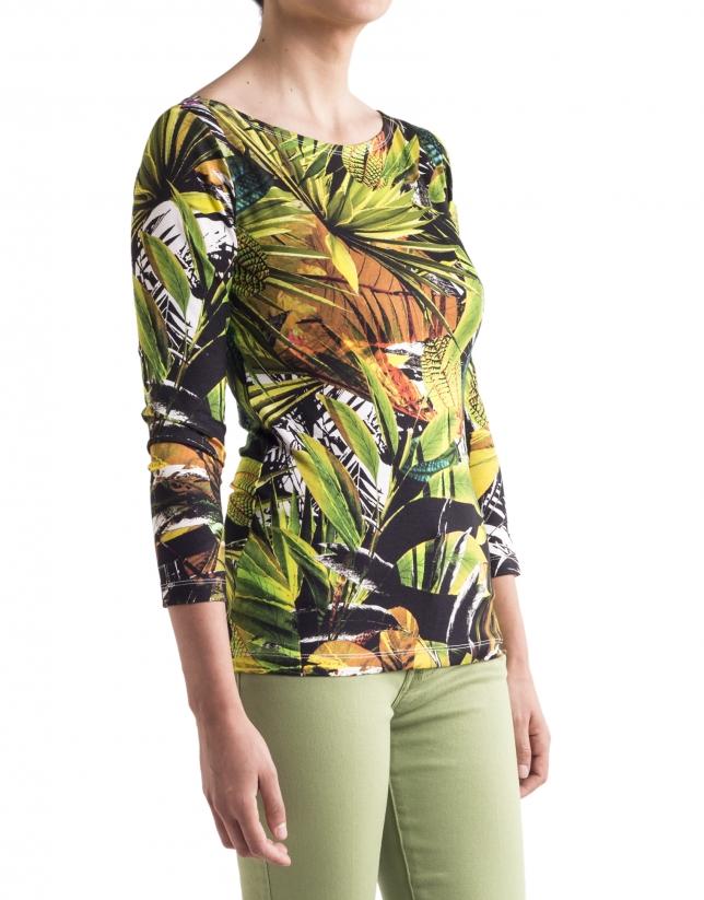 Camiseta floral verdes manga larga