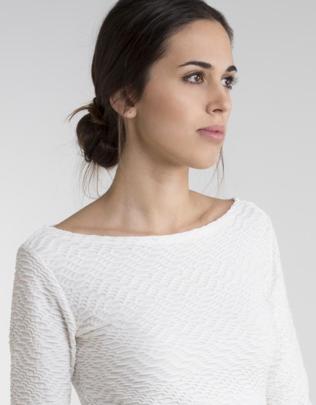 T-shirt blanc cassé en maille