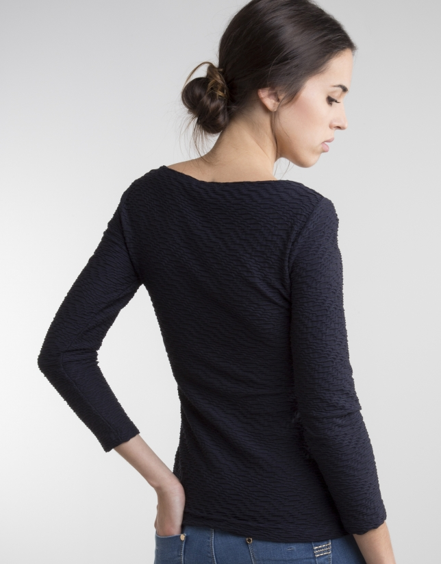 Navy blue knit top