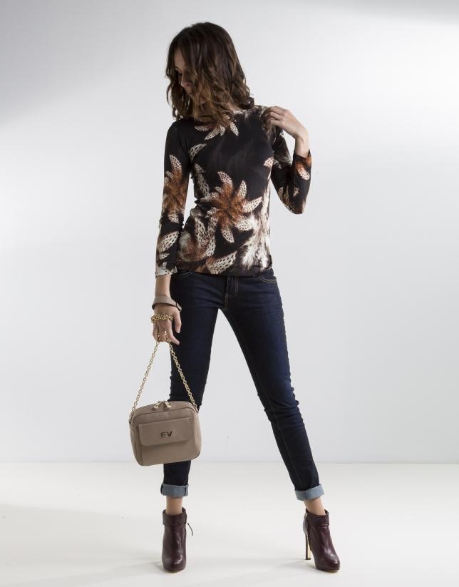 T-shirt floral marron à manches longues