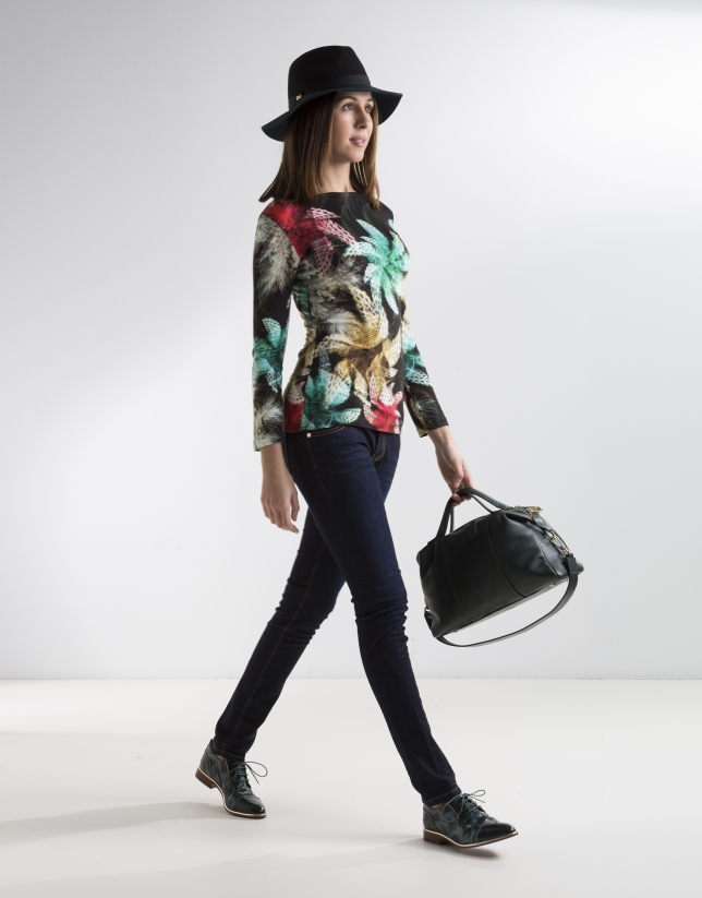 Red floral top with long sleeves
