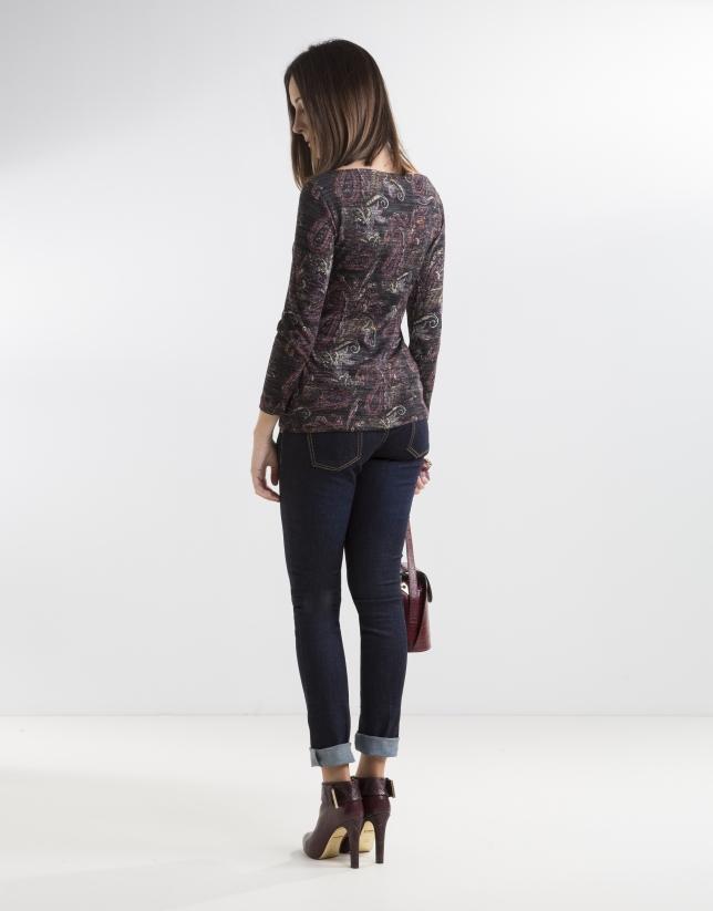 T-shirt floral gris à manches longues