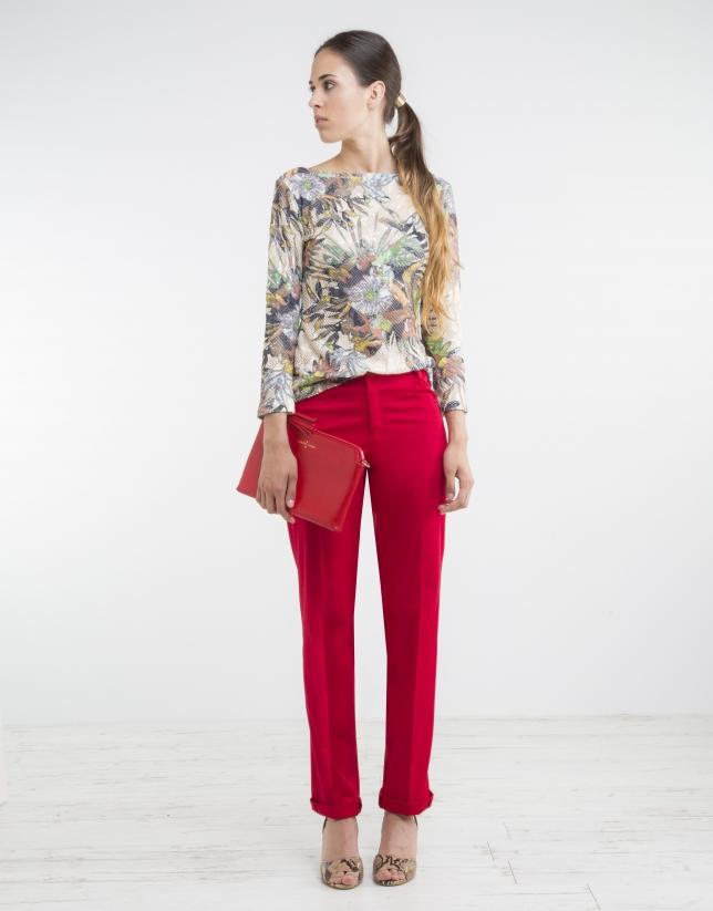 T-shirt en maille à fleurs couleur camel