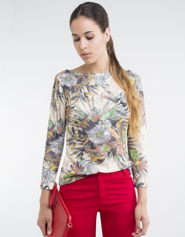 Camel floral print knit top