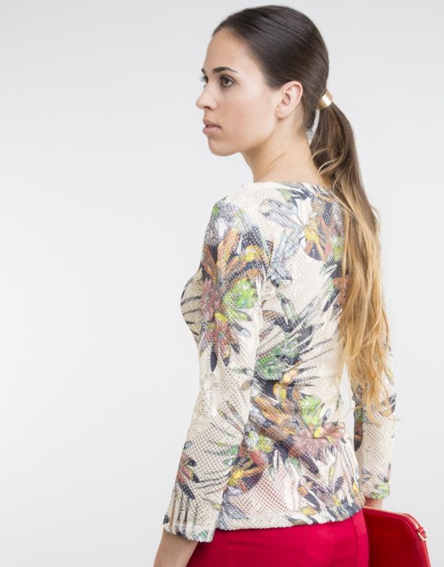 Camiseta punto flores camel