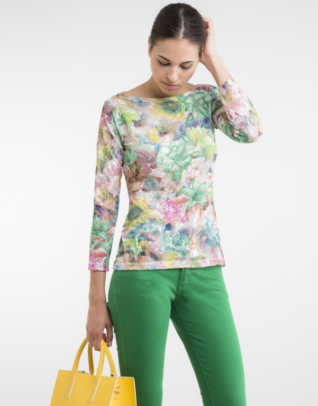 Green floral print knit top