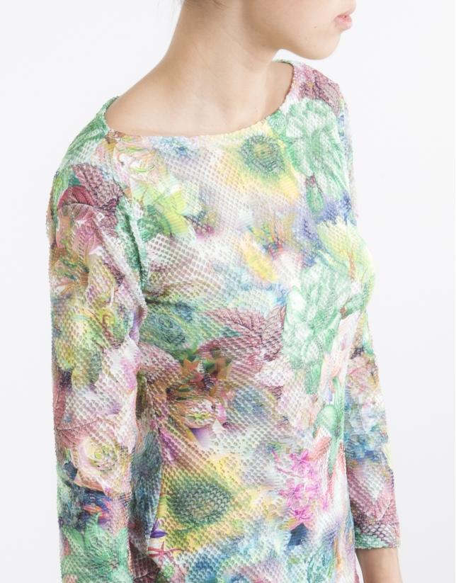 Camiseta punto flores verde
