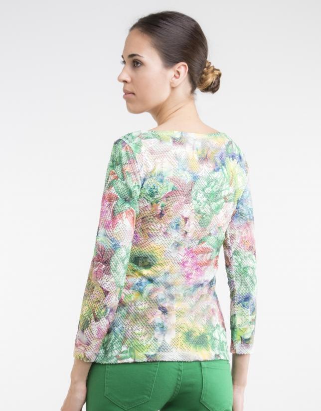 T-shirt en maille vert à fleurs