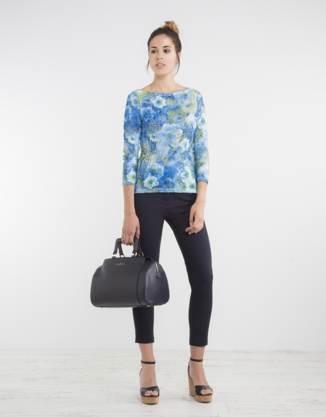 Blue floral print knit top