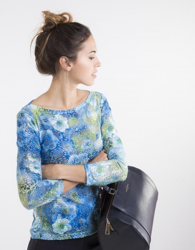 Camiseta punto flores azul