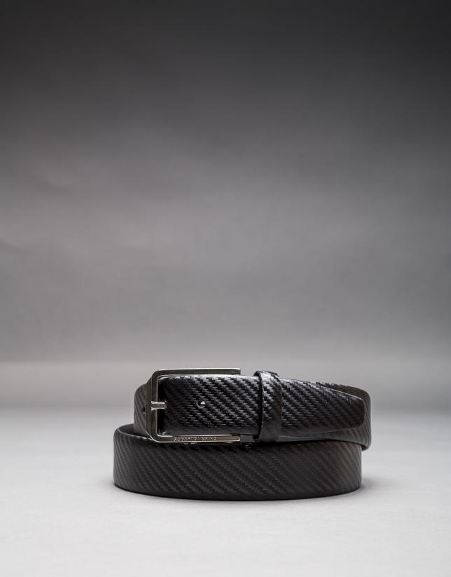 Black embossed belt
