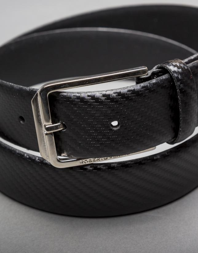 Cinturón grabado fantasía negro