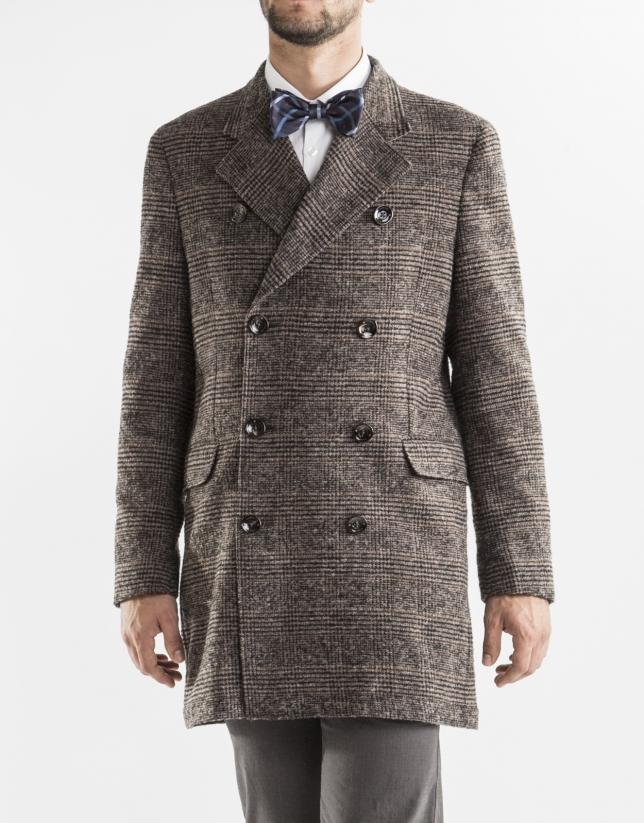 Manteau croisé Prince de Galles marron