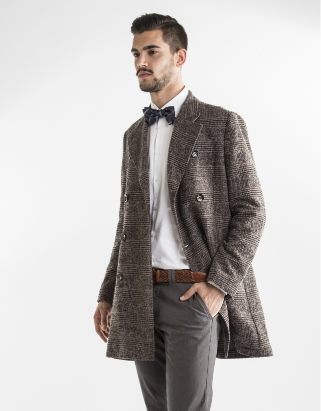Double breasted brown Princes of Wales coat