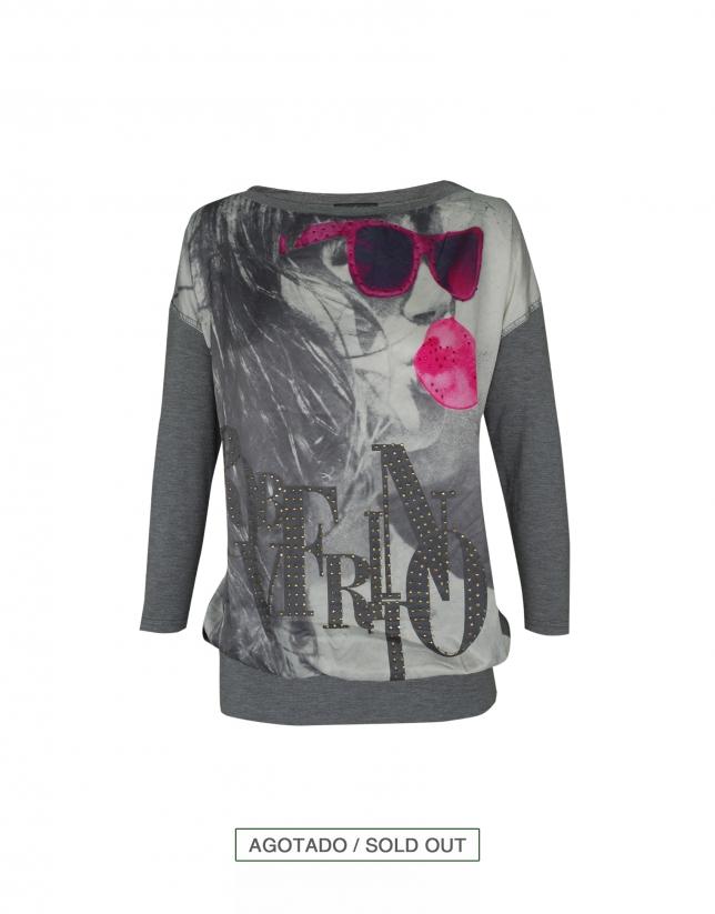 Camiseta gris fucsia Pop Art