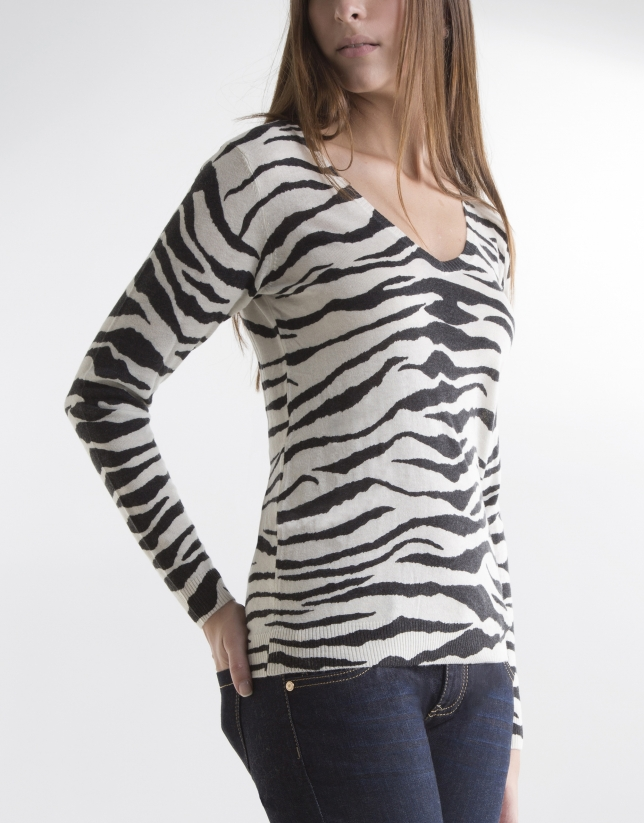 T-shirt imprimé animal zèbre