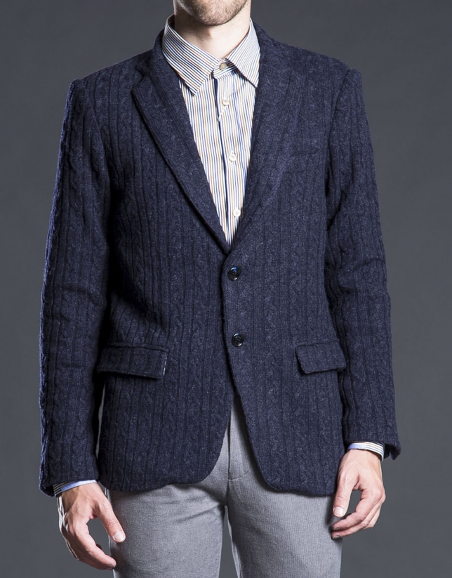 Navy blue knit jacket with elbow patches