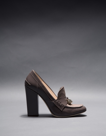 Patent leather Berna shoes with metallic and brocade leather