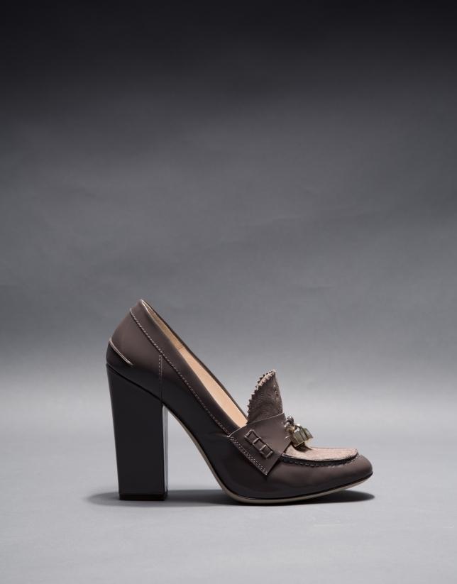 Mocassin Berna cuir verni gris taupe et cuir Brocart métallisé