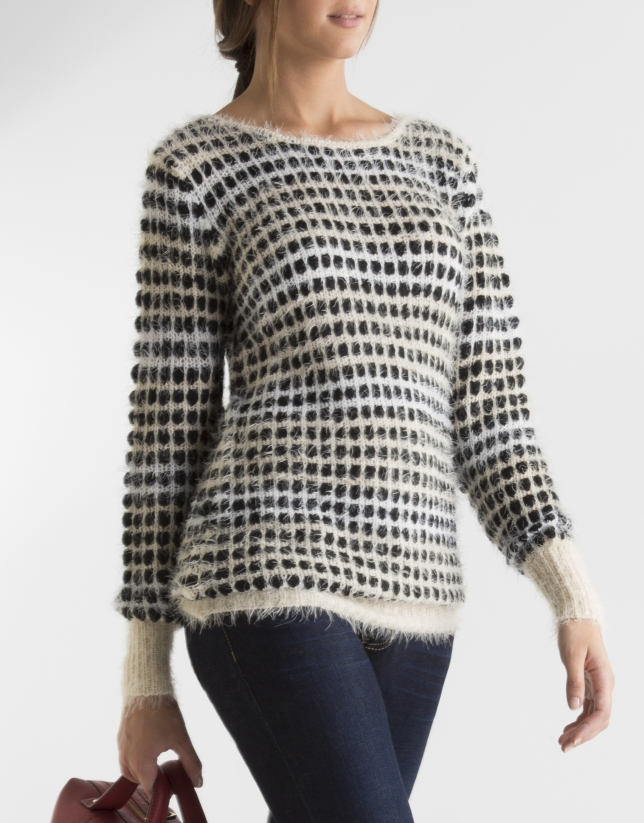 Long black and beige sweater with design