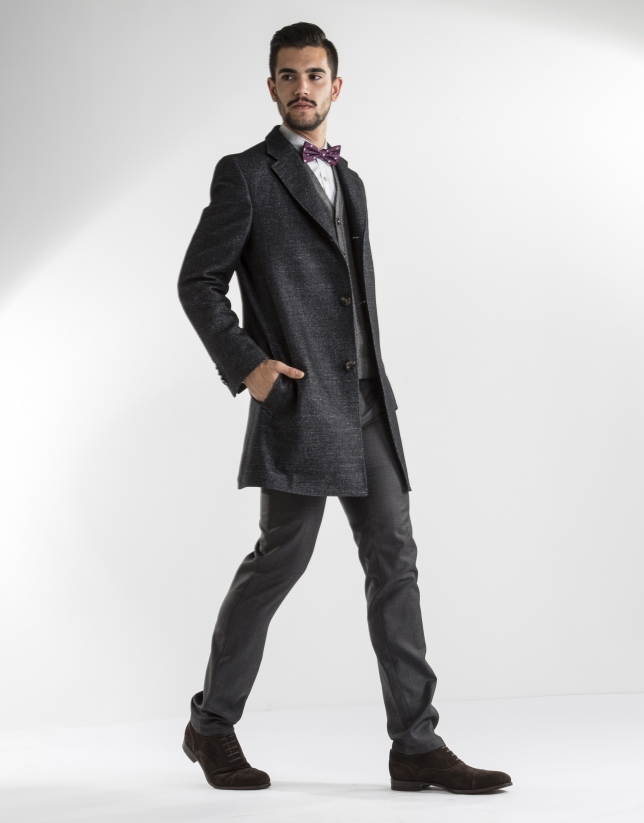 grey and black herringbone coat