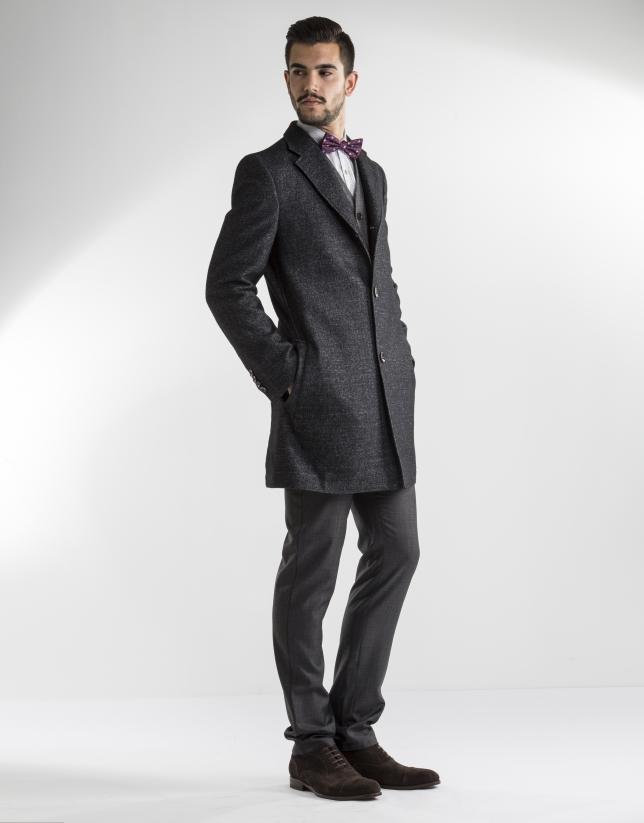 grey and black herringbone coat