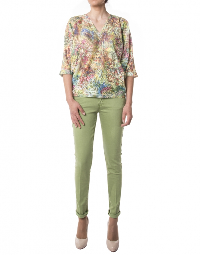 Camiseta fluída flores verde