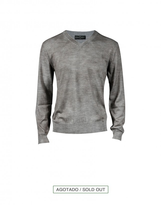 Jersey 100% lana spray en marrón