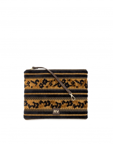 Uve jacquard fabric clutch