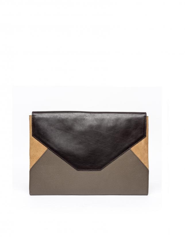 Bolso clutch envelope patchwork piel gris