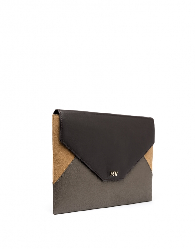Sac Clutch enveloppe Patchwork en cuir gris