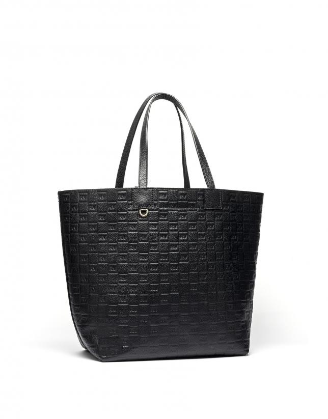 Black tattoo leather Uve shopping bag
