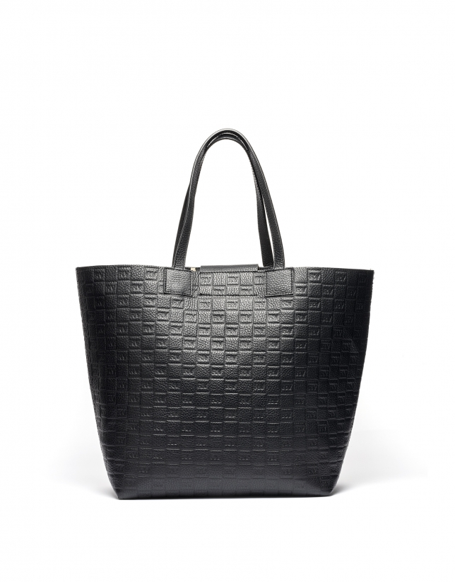Black tattoo leather Uve shopping bag