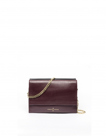 Bolso shoulder/clutch piel burdeos Jour nuit