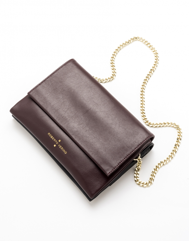 Burgundy leather Jour Nuit clutch / shoulder bag