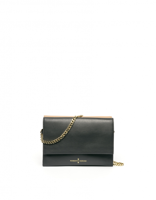 Camel leather Jour Nuit clutch / shoulder bag
