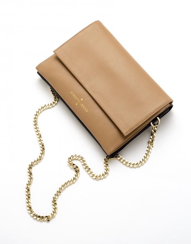 Camel leather Jour Nuit clutch / shoulder bag