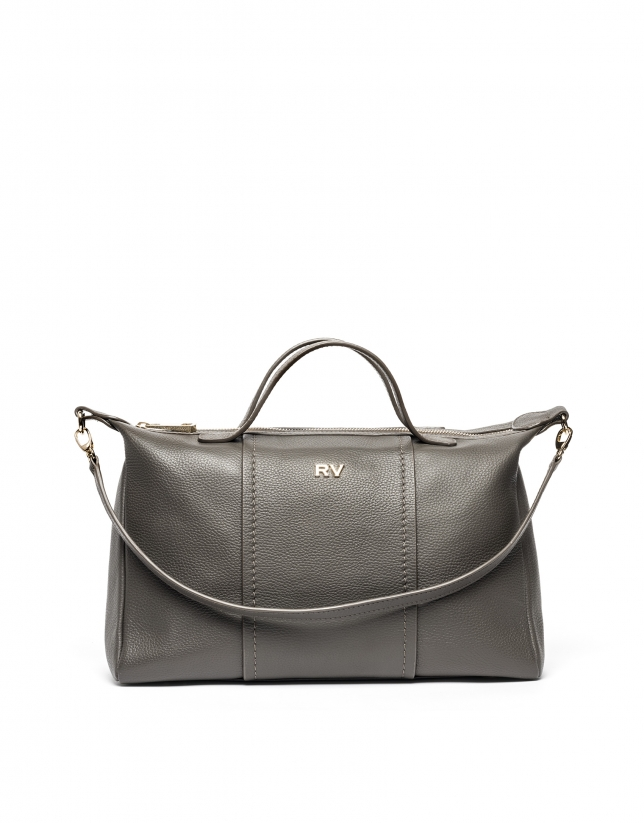 Taupe leather bowling bag Samuel
