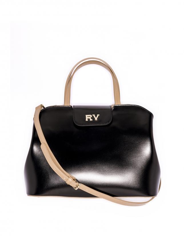 Bolso satchel piel negra Ryan