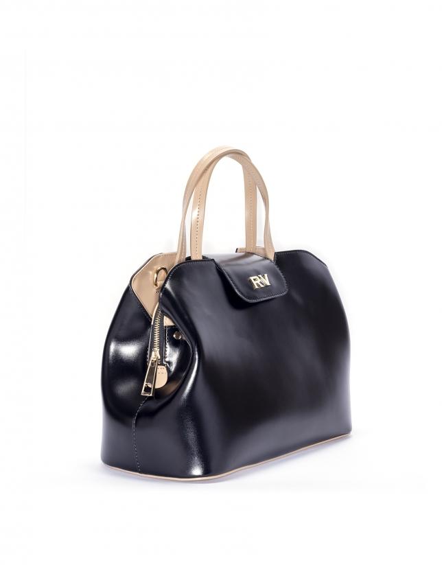 Black leather satchel Ryan