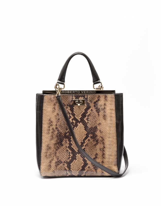 Tan leather Baver tote bag